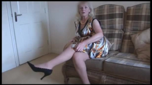Busty MILF teacher in stockings strips and fingering