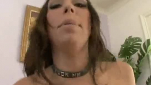 Sexy brunette got fucked by a guy who came inside her house when she was having a break