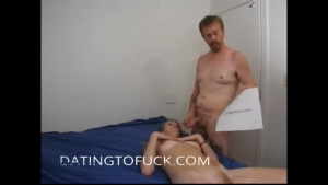 German blonde is sucking cock during a wild threesome in a huge hotel room