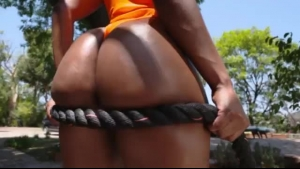 Mature blonde woman is riding a big, black dick and riding it harder than usual